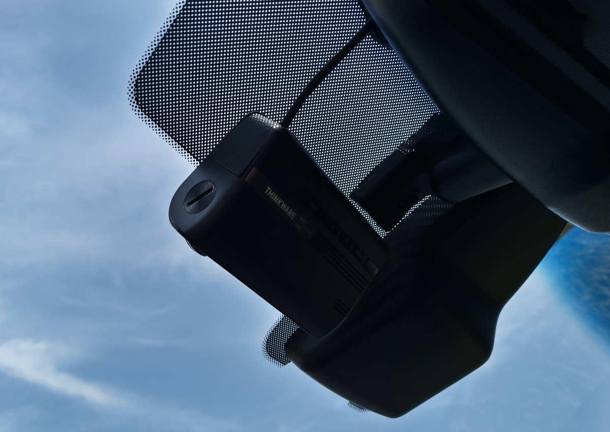 Position finale de la dashcam dans la voiture.
