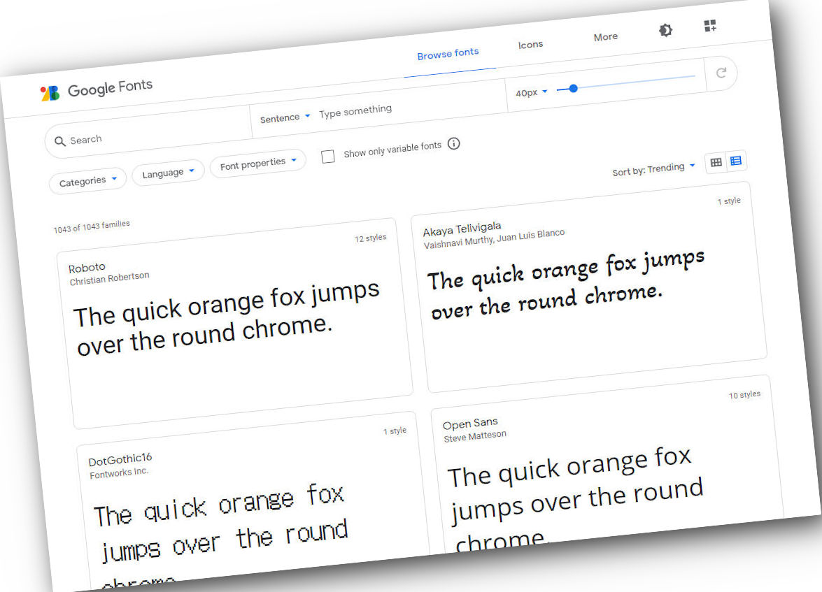 Capture d'écran du site de Google Fonts.