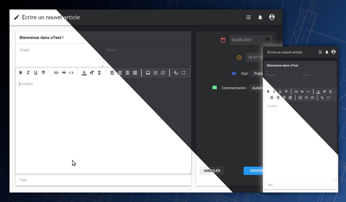 Capture d'écran de oText.