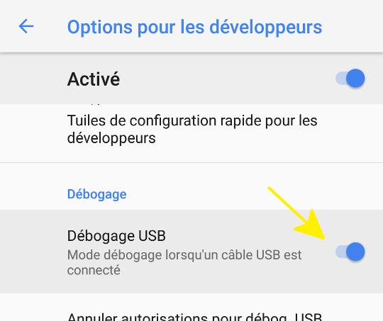 activer le déboggage USB