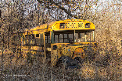 old school bus wreckage