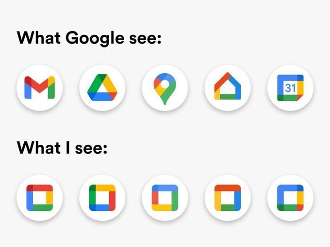 Nouvelles icônes, ce que google voit VS ce que je vois.