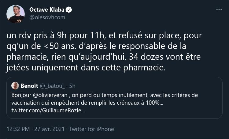 Tweet d'octave Klaba.