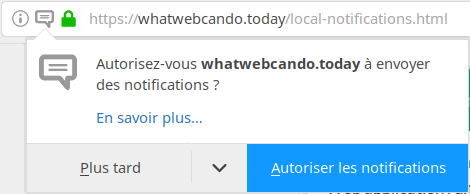 le popup de demande de notification